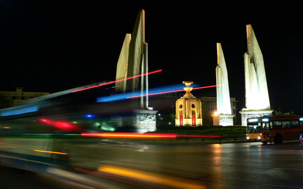night view of the Democracy Monument in Bangkok
