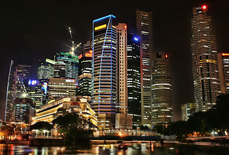 singapore night urban skyline
