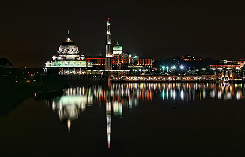 Putrajaya nightview lakeside water reflection