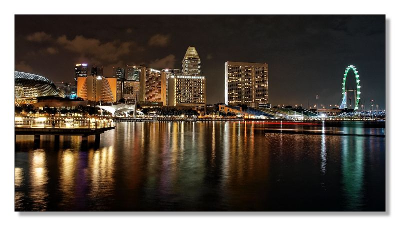 Singapore waterfront nightview panorama