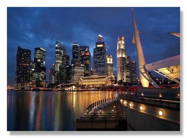 Singapore skyline blue hour photography