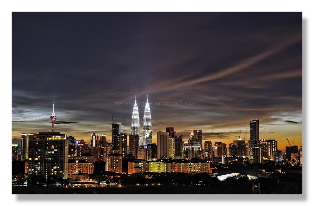 kuala lumpur skyline night panorama