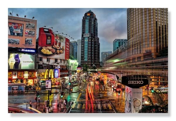 downtown Kuala Lumur nightscene light motion