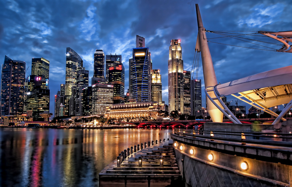 singapore skyline blue hour
