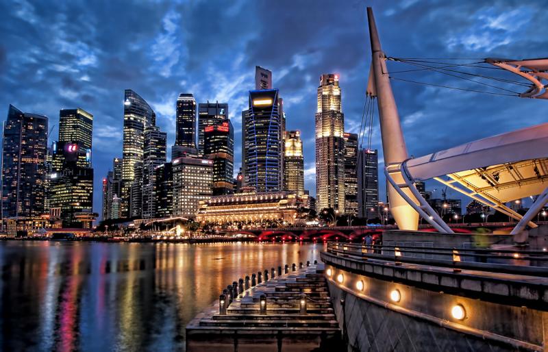 singapore skyline blue hour