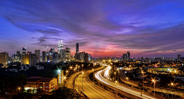 kuala lumpur highway city skyline sunset