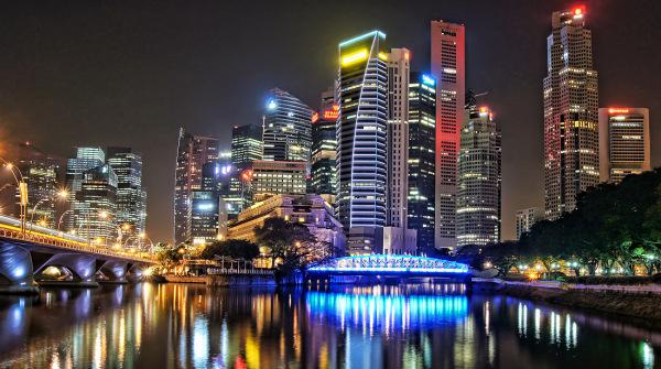singapore river downtown nightview panorama