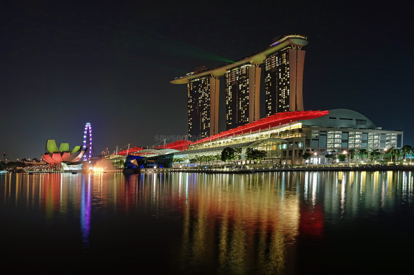 singapore marina bay complex nightview