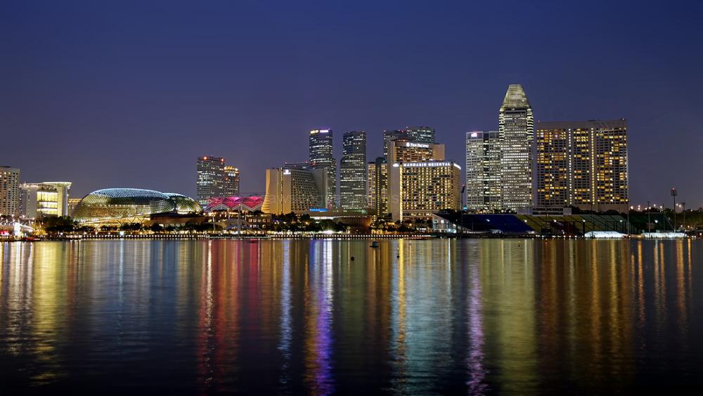 singapore marina bay nightview skyline