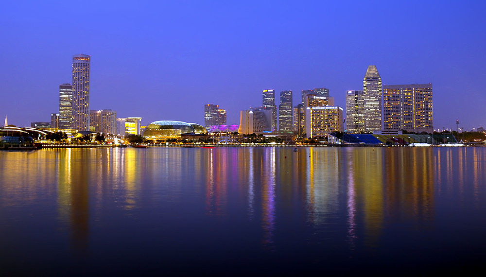 singapore skyline blue hour water reflection