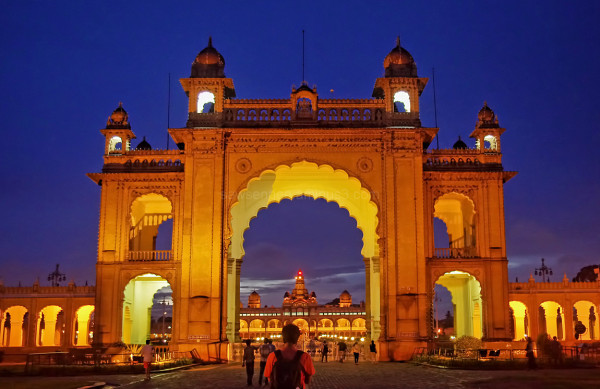 Mysore Palace Karnataka India blue hour nightshot