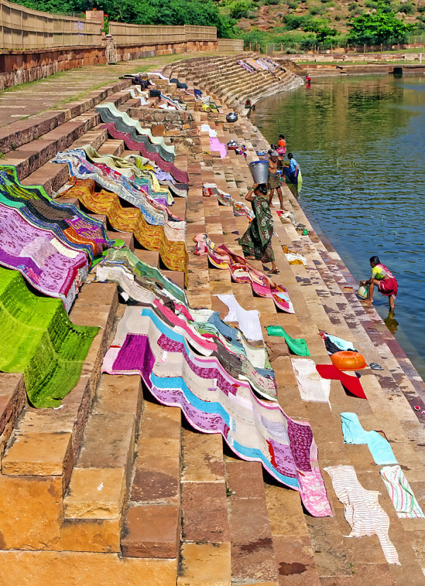 Badami Karnataka India lake ghat laundry  steps