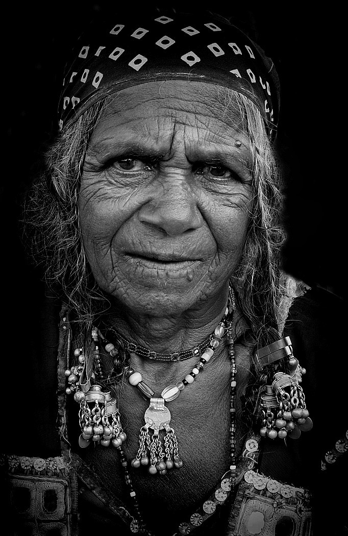 rajasthani woman india portrait monochrome