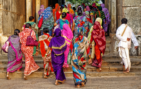 pilgrims temple sarees colours Hampi group portrai