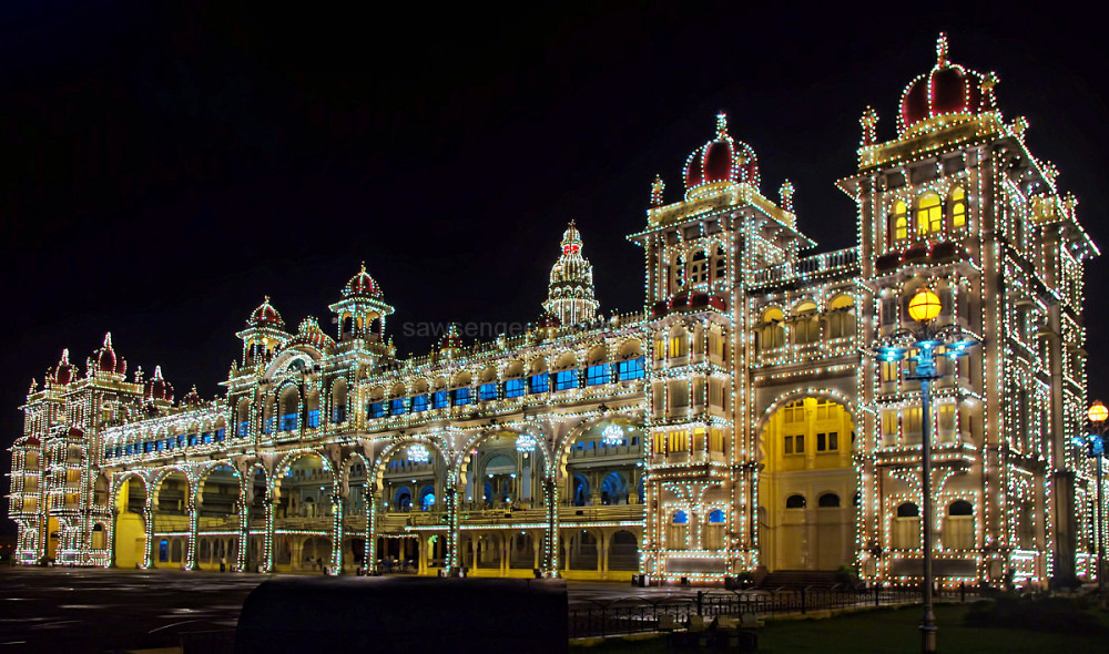 Mysore Palace Karnataka India night perspective  i