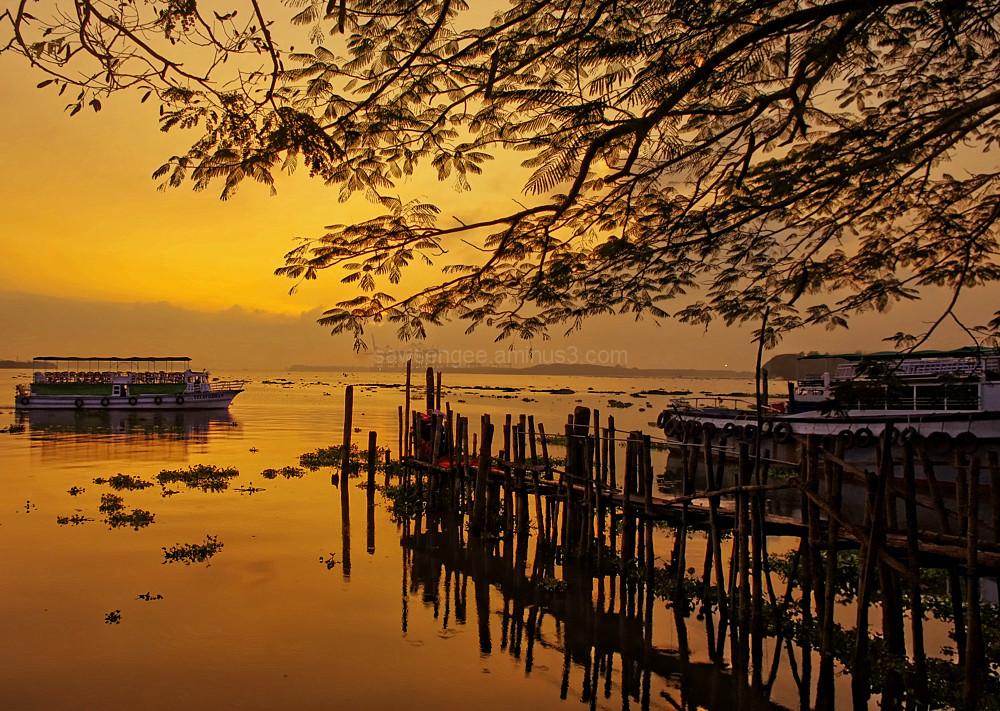 Kochi sunset boats golden water reflection silhoue