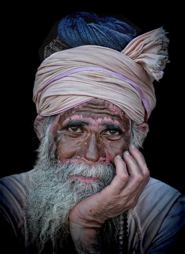 Portrait sadhu hindu Varanasi India