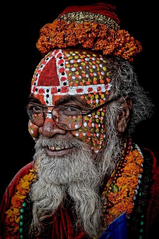 street portrait sadhu Kathmandu colourful face art