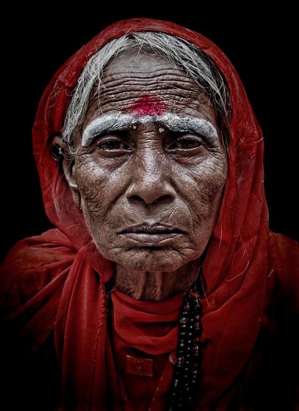 street portrait woman red scarf Indian Pushkar