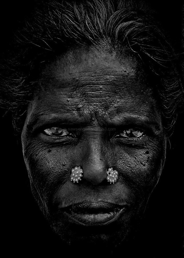 street portrait monochrome Indian woman