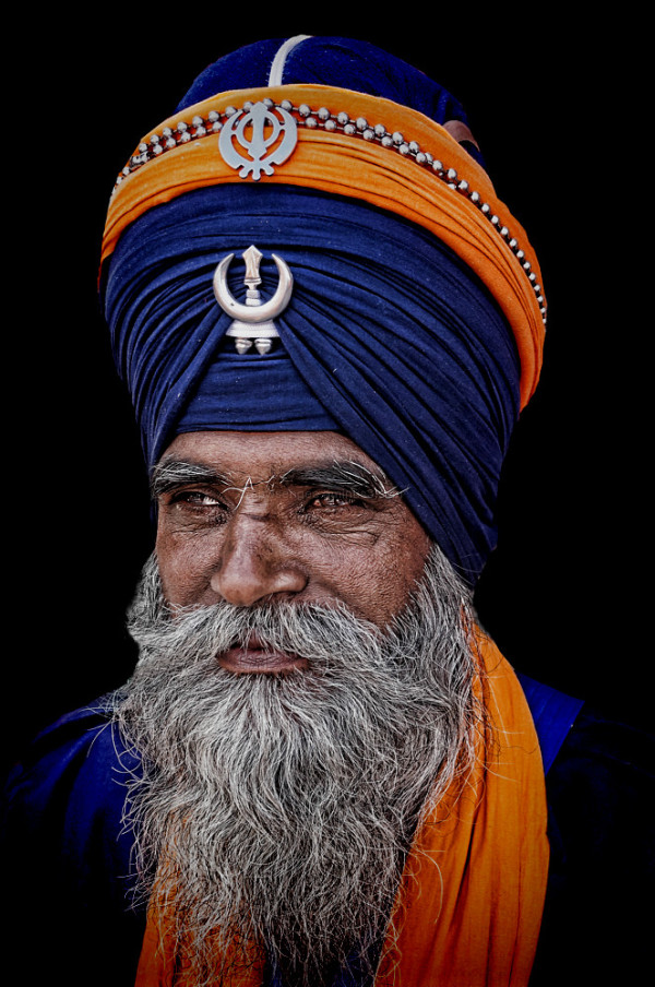 street portrait nihang sikh amritsar punjab turban