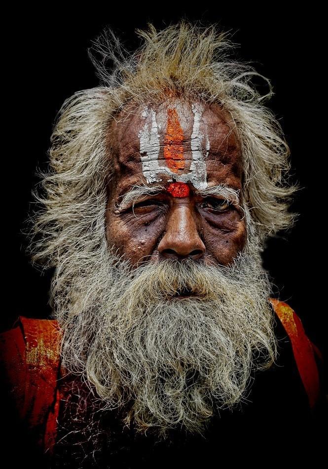 hindu sadhu Indian beard facial paintwork