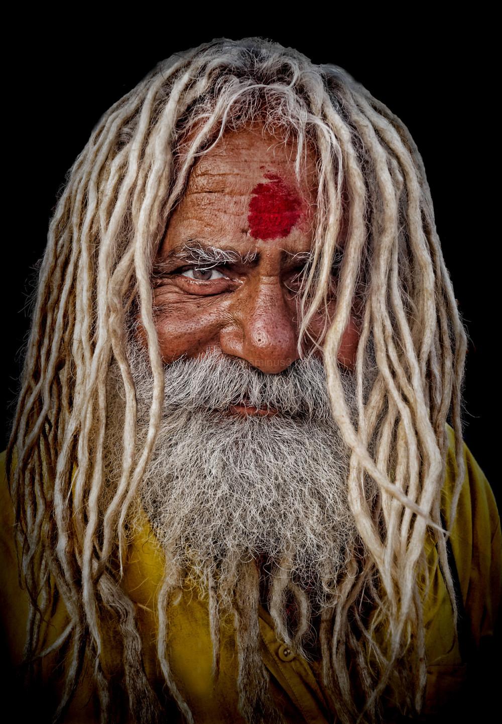 hindu sadhu Haridwar dreadlock silver hair beard