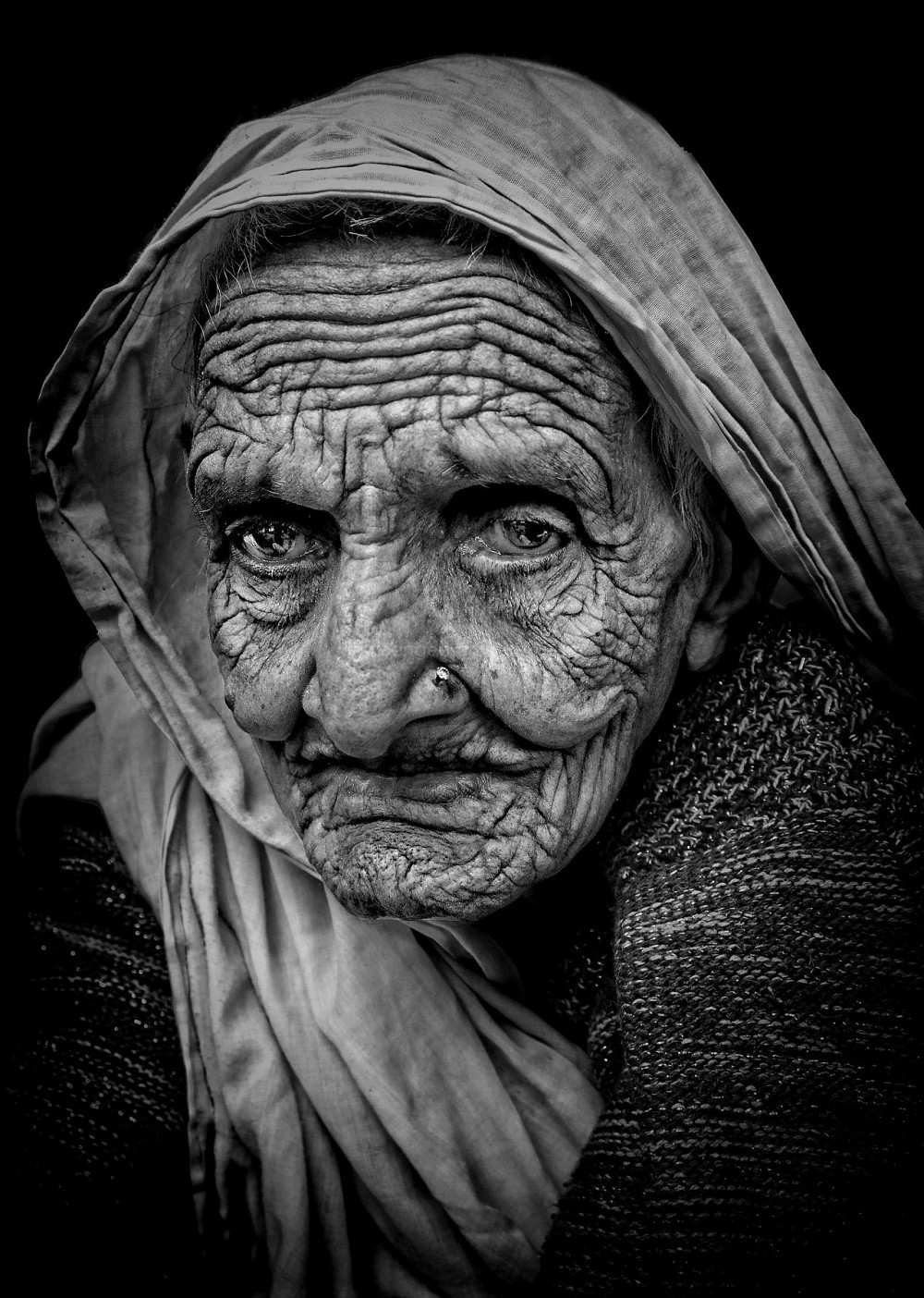 street portrait matriarch old mono natural light