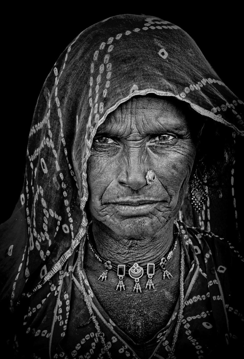rajasthani monochrome street portrait natural lite