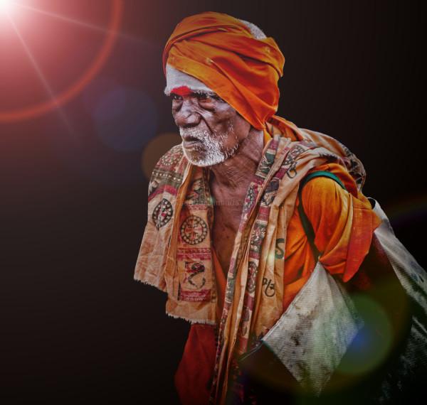 hindu pilgrim street natural light portrait India