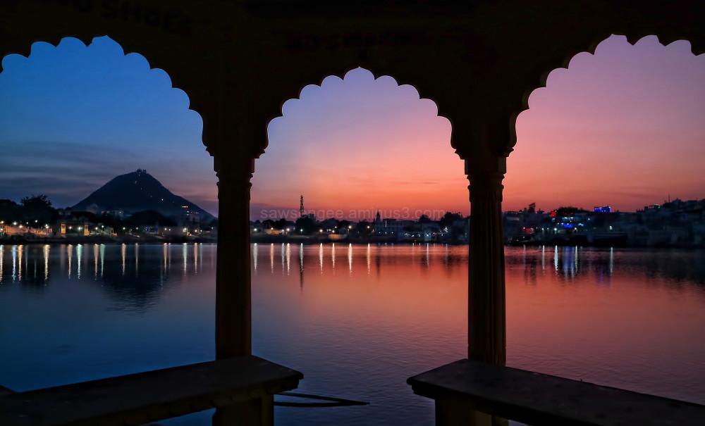 Pushkar Rajasthan desert sunset water reflection