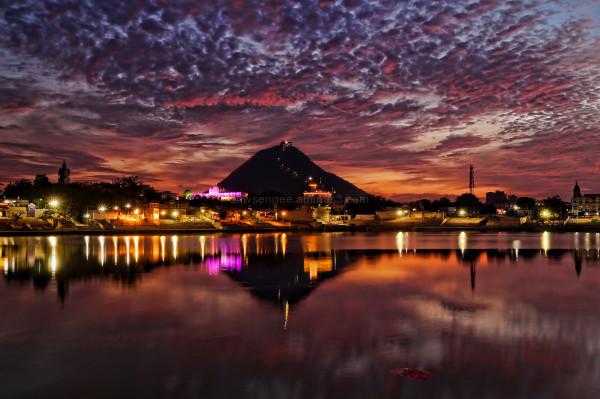 Pushkar desert sunset Rajasthan water reflections