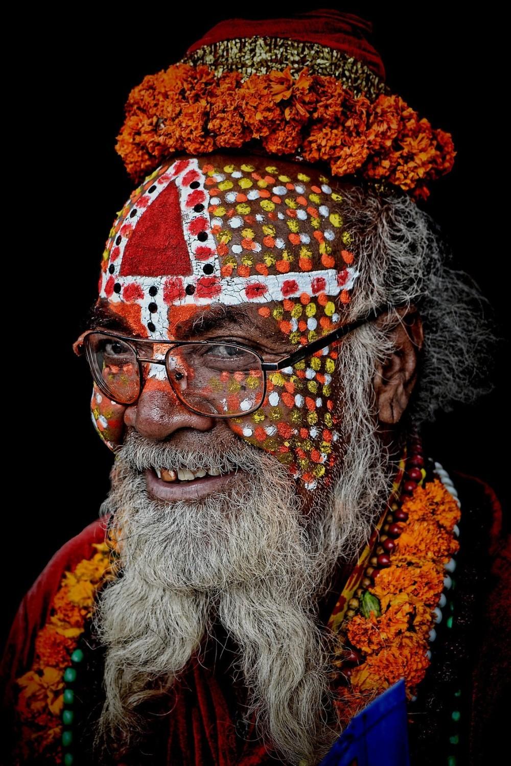 sadhu Kathmandu facial paintwork white beard