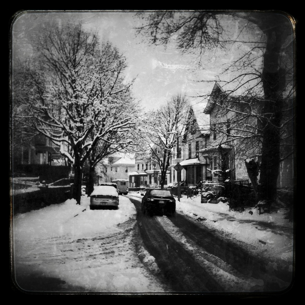 boston, dark, snow, street, urban, black