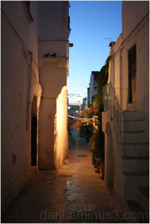 an empty street at dusk