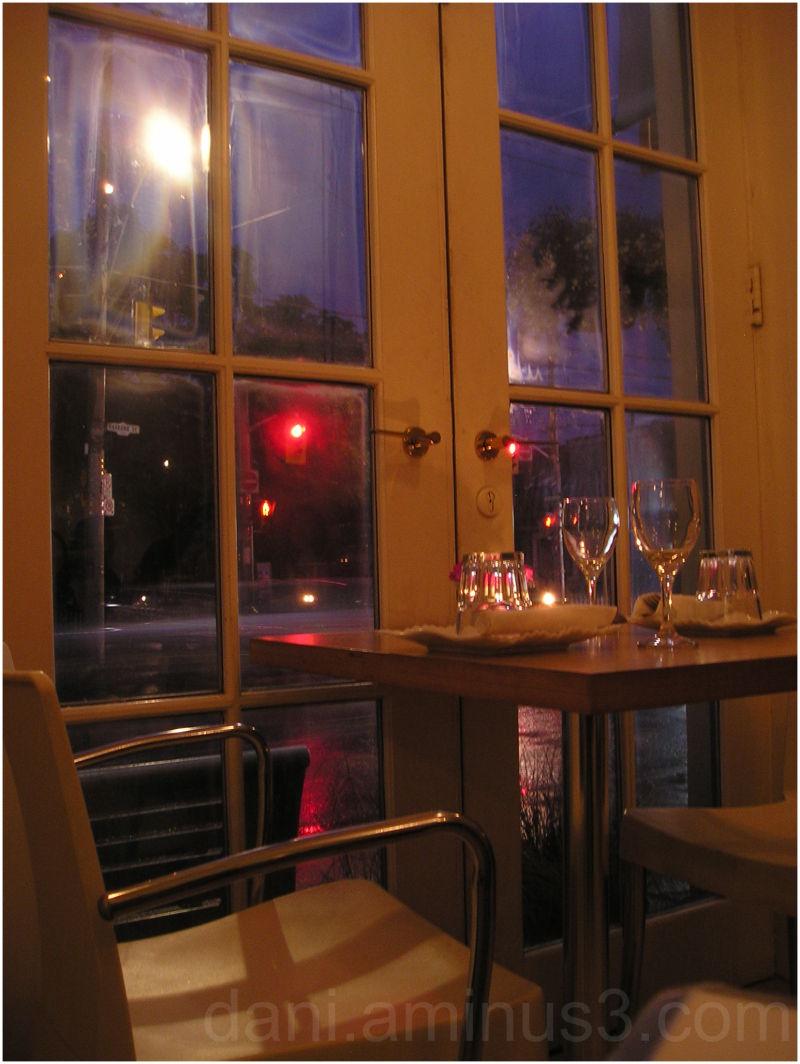 A window on a rainy night