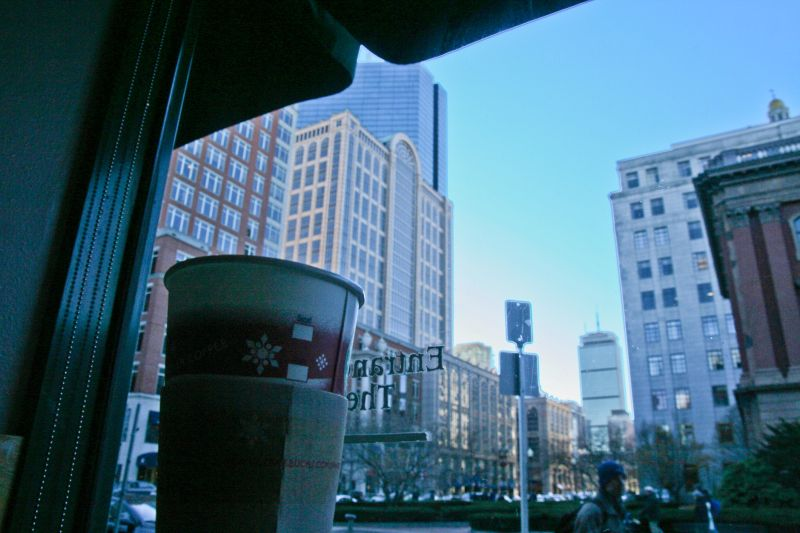 from the coffee shop