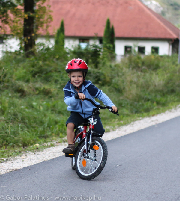 Andras riding his bike