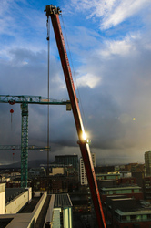 sun on the crane