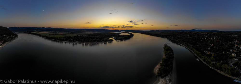sunset from the air at Zebegeny