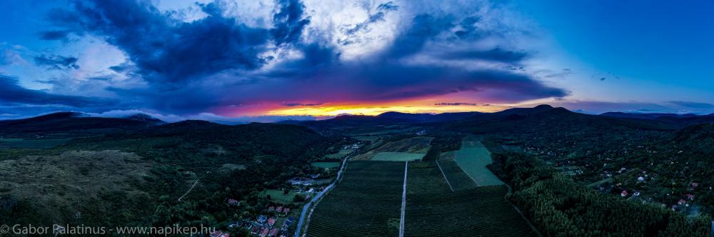 Sunset over Pomaz panorama