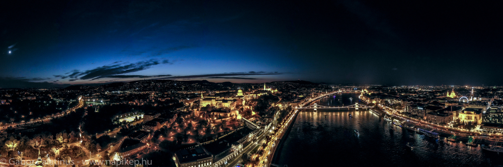 Budapest evening from the air panorama