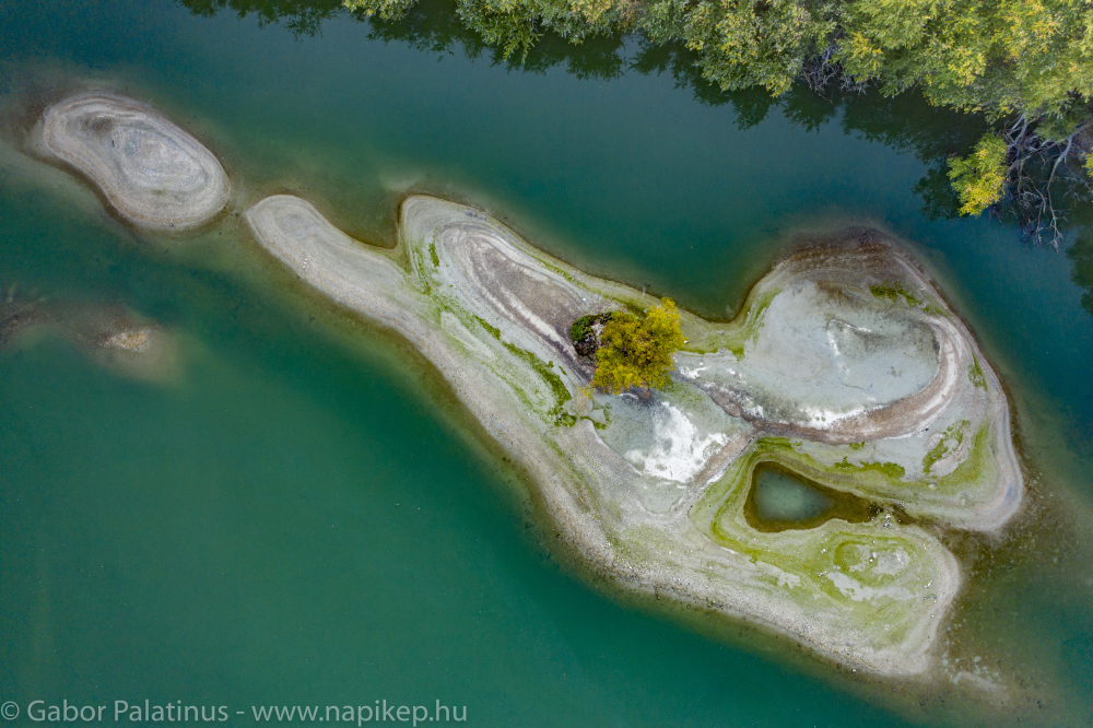 small sand island from the air with only one tree