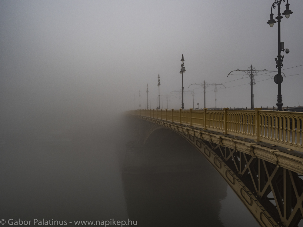 Margaret bridge hiding in the morning fog