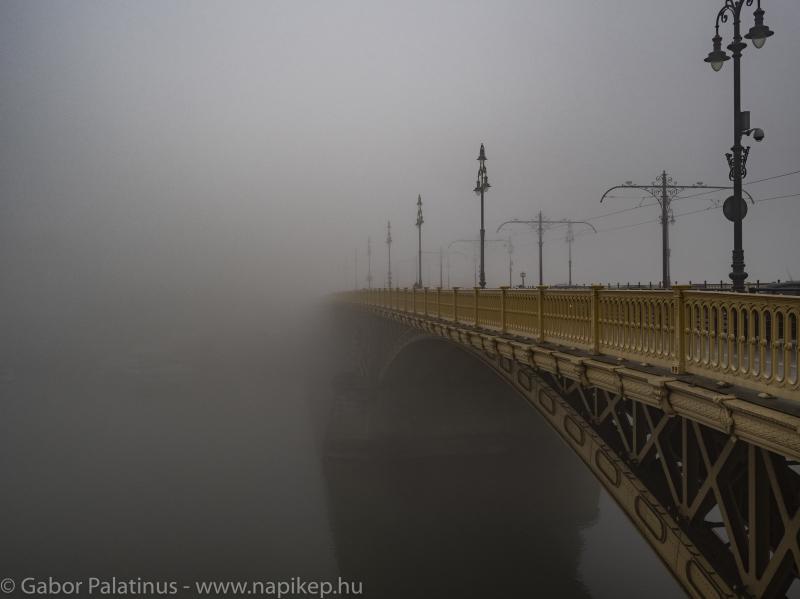 Margaret bridge hiding in the morning fog
