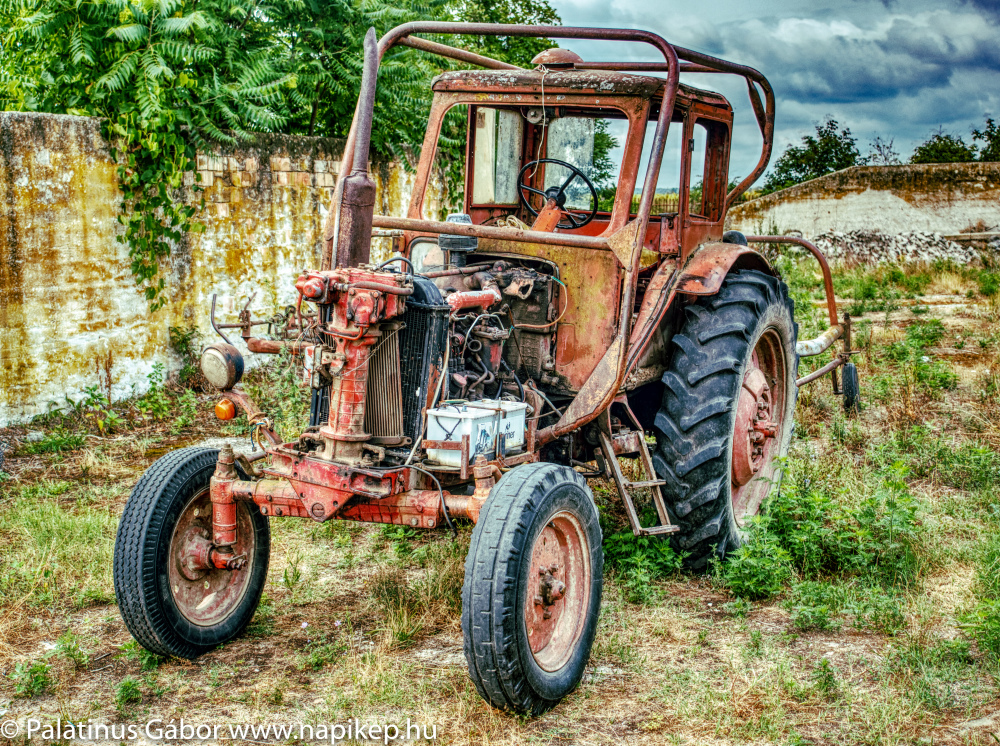 old tractor in HDR