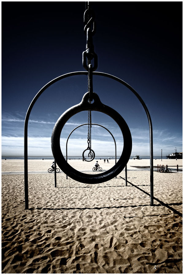 santa monica, california, beach, hoops, rings,