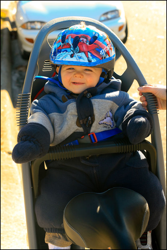 Elliot readying for a bike ride