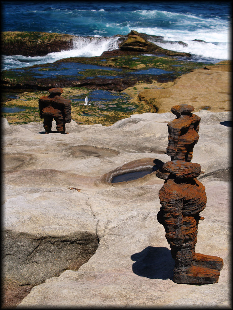 Sculpture by the sea - distorted men 2