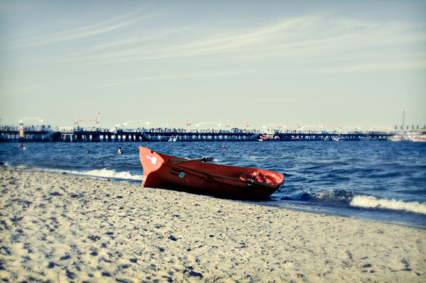 boat on the beach of Gdynia